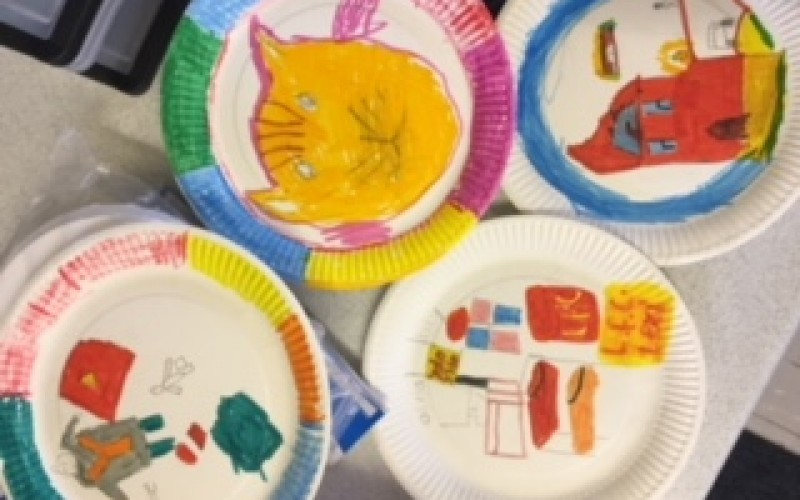 Children's drawings from the first art workshop session
